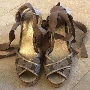 COACH BALLET RIBBON ANKLE LACE UP WEDGE HEELS SZ 7
